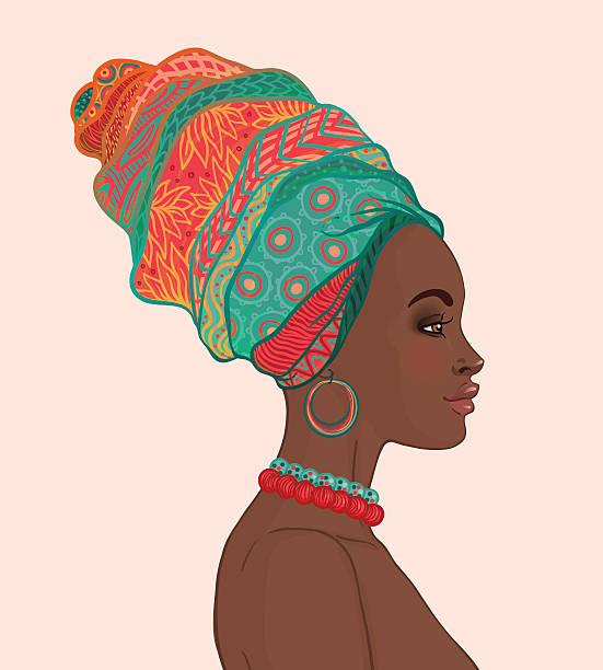 Portrait+of+beautiful+African+woman+in+turban+%28profile+view%29
